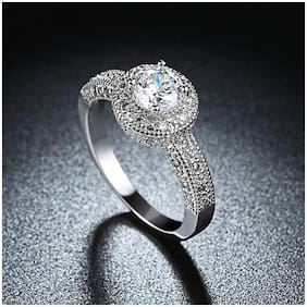 Mahi Rhodium plated Festive Jewelry Elegant Cubic Zirconia Solitare Royal Queen Designer Ring for Women FR1103038R