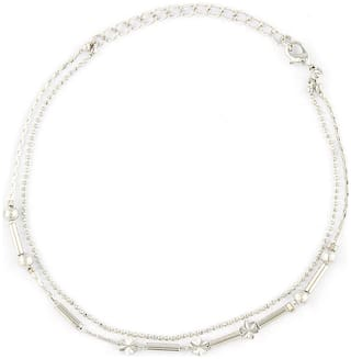 Mahi Rhodium plated Festive Jewelry Beautiful Elegant Anklet for girls and women PL1100124R
