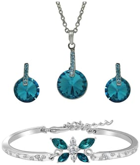 Mahi Christmas Special Festive Jewelry Dreamy Blue Pendant Set and Butterfly Bracelet Combo with Crystal Stones CO1104654R