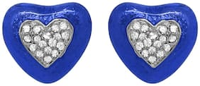 Mahi Christmas Special Festive Jewelry Blue Romantic Heart Stud Earrings with crystal Stones ER1109437RBlu