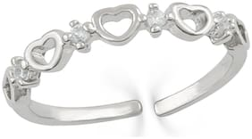 Mahi Rhodium Plated Adjustable Heart Link Crystal Finger Ring for Girls and Women FR1103024R