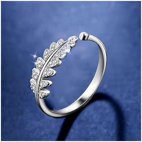 Mahi Valentine Special  Rhodium Plated Cute Leafy Adjustable Finger Ring with Crystal Stones for Girls and Women FR1103058RWhi