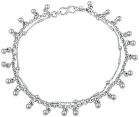 Mahi Rhodium plated Festive Jewelry Delicate ghungaroo adjustable anklet for girls and women PL1100134R