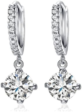 Mahi Valentines gift Bali Hoop Clip-On Earrings with Cubic Zirconia For Women ER1102359R