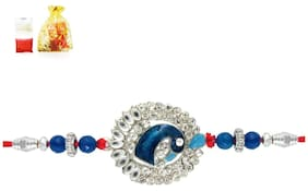 Mahi Rhodium Plated Charming Peacock Rakhi ( Raksha Sutra ) with crystals BR1100523R