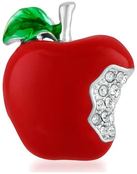 Mahi Valentine Special Rhodium plated Lovely Apple Unisex Brooch Pin with crystal stones BP1101012R