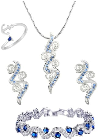 Mahi Rhodium Plated Combo of Spiral Designer Pendant set Bracelet and Finger Ring with crystal stones for women and women CO1105064RBlu