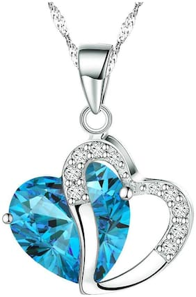 Mahi Valentine Gift Heart Shape Pendant with Aqua Blue Crystals for Girls and Women PS1101655RABlu