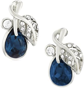 Mahi Valentines Special Jewelry Gift Montana Blue Berry Crystal Stud Earrings For Women ER1109537RMBlu