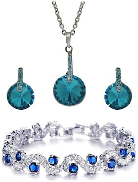 Mahi Rhodium plated Festive Jewelry Dazzling Blue Pendant Set and Bracelet Combo with Crystal Stones CO1104652R