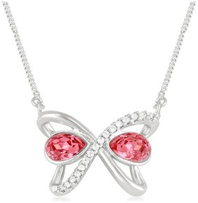 Mahi Rhodium Plated Magnificent Swarovski Crystal Necklace for girls and women NL1104351R