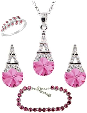 Mahi Valentines Gift combo of Designer Eiffel Tower Pendant set Solitaire Crystal Bracelet and Finger Ring with crystal stones for women CO1105063RPin