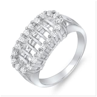 Mahi Rhodium plated Festive Jewelry Classic Bar Ring With CZ Stones for Women FR1100069R
