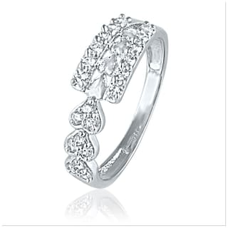 Mahi Rhodium plated Festive Jewelry Three Hearts Ring With Cz Stones For Women Fr1100448R