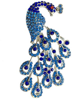 Mahi Valentine Special Rhodium Plated Fashionable Blue Radiant Peacock Brooch for Women BP1101029R