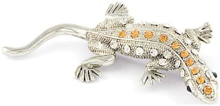 Mahi Valentine Special Rhodium plated Lizard Brooch pin for women with crystal stones BP1101010R