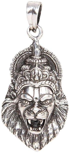 Mahi Rhodium Plated Oxidised Laxmi Narasimha Swamy Unisex Pendant without Chain PS1101696R