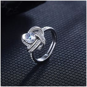 Mahi Rhodium plated Festive Jewelry Floral Finger Ring With Crystal for Women and Girls FR1103030R