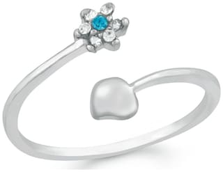 Mahi Valentine Special Rhodium plated Exotic Floral Adjustable Finger Ring with Crystal Stones for girls and women FR1103005R