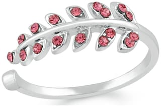 Mahi Valentine Special Rhodium plated Cute Leafy Adjustable Finger ring with Crystal stones for girls and women FR1103010RPin