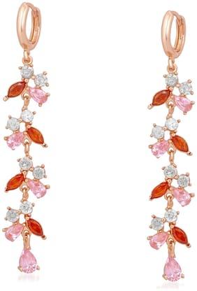 Mahi Rose Gold Plated Mesmerising Love Long Dangler Earrings with multicolour Cubic Zirconia stones for girls and women ER1109642Z
