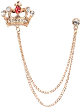Mahi Rose Gold Plated Men's Royal Crown Crystal Brooch with Chain BP1101016Z