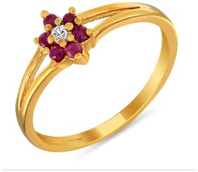 Mahi Ruby & CZ 24K Gold Plated Fashion Finger Ring for Women FR1100298G