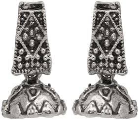 Mahi Silver Oxidized Traditional Small Dangle Jhumka Earrings for Women and Girls ER1109652R