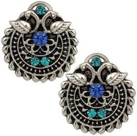 Mahi Silver Oxidized Traditional Green and Blue Crystal Stud Earrings for Women and Girls ER1109653R