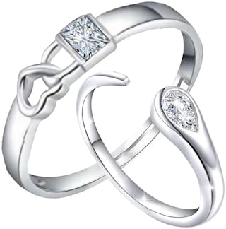 Mahi Solitaire Crystal 'Lock Heart And Open Wrap' Proposal Adjustable Couple Ring For Men And Women (FRCO1103104R)