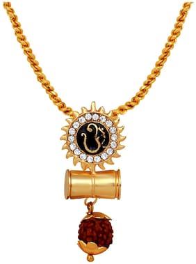 Mahi Sun Om Pendant and Shivji Damru Religious God Pendant With 20 Inch Chain For Men (PS1101721G)