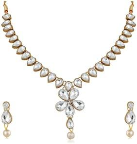 Alloy White Ethnic Necklace Set
