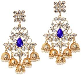 Mahi Traditional Dangler Big Jhumki Earrings with Blue Kundan for Women