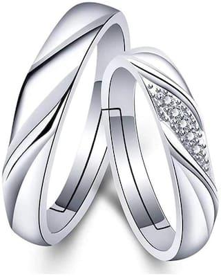 Mahi Valentine Gift Proposal Crystal Elegant Couple Adjustable Ring for Men and Women (FRCO1103111R)