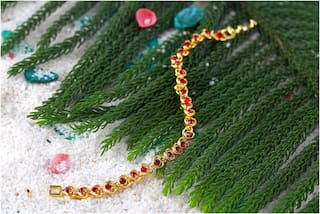 Mahi Valentines Special Tiny Red Hearts Bracelet With Crystals For Women Br1100128GRed