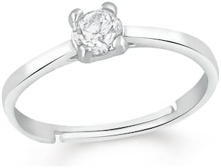 Mahi Valentine Gift Elegant Gleaming Solitaire Finger Ring of Alloy with CZ stones for girls and women FR1103073R