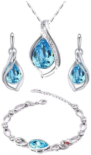 Mahi Valentines special Gift  Combo of Magnificent Crystal Pendant set and Bracelet for girls and women CO1104707R