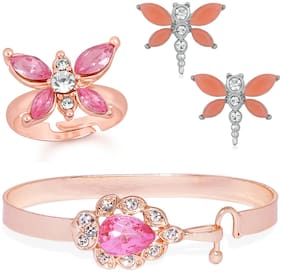 Mahi Valentine Gift Combo of Butterfly Adjustable Finger Ring Earring and Kada of Alloy with Pink Crystal