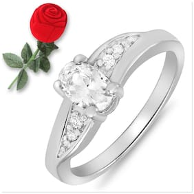 Mahi Valentine Rhodium Plated Cz Wave Delight Ring In Rose Box For Women Fr5100078Rbx Free Rose Box