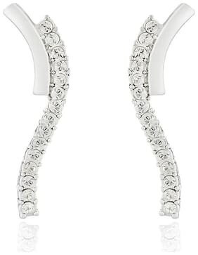 Mahi Rhodium plated Festive Jewelry Elegant Curve Earrings with White Crystals for Women ER1191769RWhi