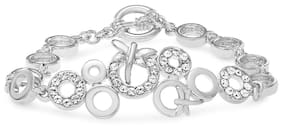 Mahi Eita Collection White Rhodium Plated Crystal Bracelet for Women-BR1100102R