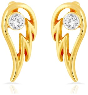 Mahi Gold Plated Angel Wings Stud Earrings with Crystal for Women ER1109283G