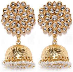 Mahi White;Golden Jhumki For Women