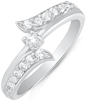 Mahi Rhodium plated Festive Jewelry Infinity Love Finger Ring with CZ for Women FR1100498R10