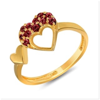 Mahi Christmas Special With Swarovski Crystals Red Double Heart Gold Plated Valentine Love Ring For Women Fr1104001Gred
