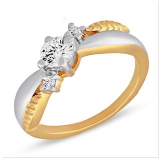 Mahi Festive Jewelry With Swarovski Zirconia Solitaire Leaf Gold And Rhodium Dual Tone Finger Ring For Women Fr1105042M