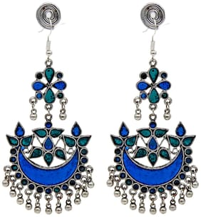 Mali Fionna Jaipuriya Blue Torquise colourful Emblished Afghani Earrings