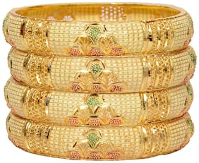 Mansiyaorange Original Look Gram Gold Bangles For Women