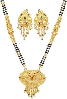 Mansiyaorange Traditional Party Casual Wedding wear 1 g Gold Glorious Hand Meena/Tanmaniya/ Mangalsutra/Mangalsutra for women Latest Design Gold Long Chain(30 inch)