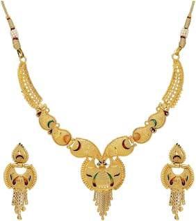 Mansiyaorange Traditional Party Wedding Wear One Gram Gold Jewellery Necklace Sets For Women